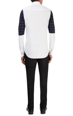white shirt with checkered print