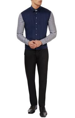 blue & white striped sleeve shirt