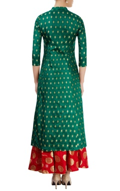 Green kurti with red skirt
