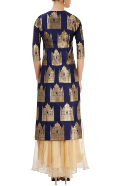 Navy blue & beige skirt set