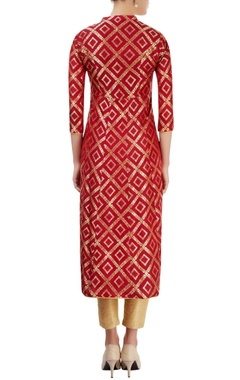 Red kurti with floral pattern