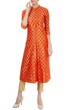 Orange kurti with gold embellishment