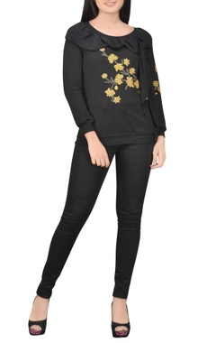 black embroidered top with drape detail