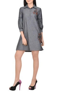 grey striped dress wit embroidered motif