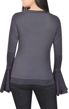 Dark grey top with embellishments