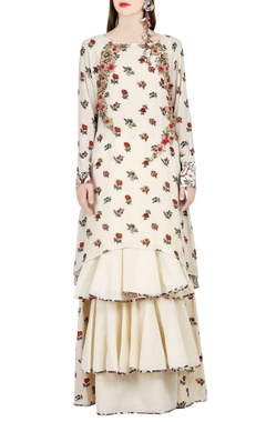 Ivory printed tunic & tiered skirt