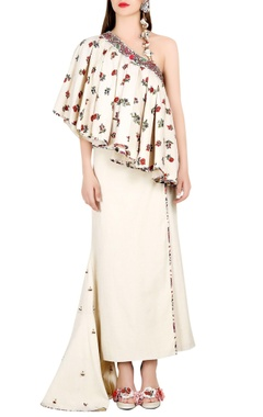 Ivory one shoulder top with wrap skirt