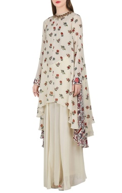 Nikasha Ivory asymmetric kurta & sharara pants