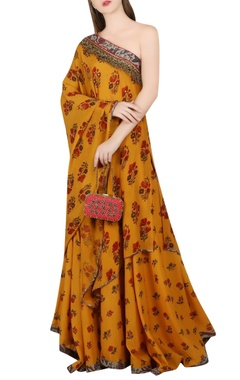 ochre yellow one shoulder tunic & lehenga