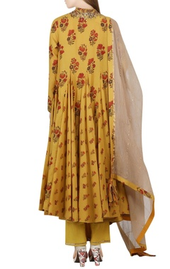 mustard yellow kalidar kurta set