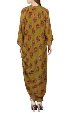 olive green printed rouched maxi dress