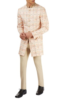peach printed jacket set