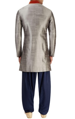 Grey motif sherwani with blue salwar