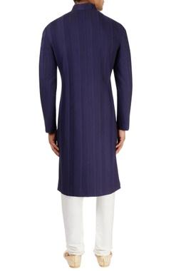 navy blue textured sherwani set