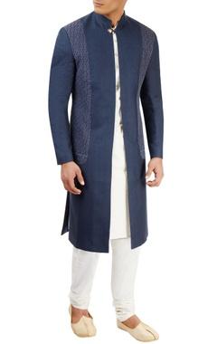navy blue open sherwani