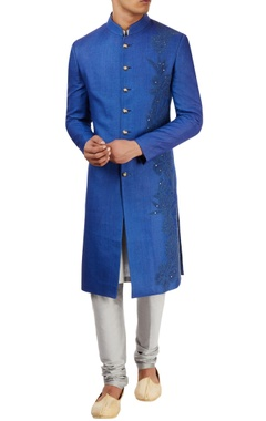 Royal blue sherwani set with threadwork