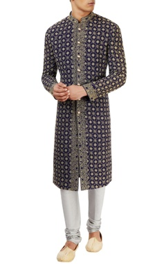 Navy blue lucknowi embroidered sherwani set