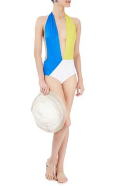 Yellow, blue & white colour blocked monokini