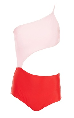 Red & pink cut-out monokini
