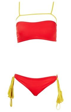 red & yellow bikini set