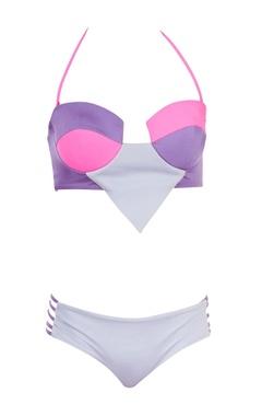 Purple & grey paneled bikini set