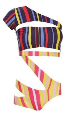 multi-coloured striped monokini
