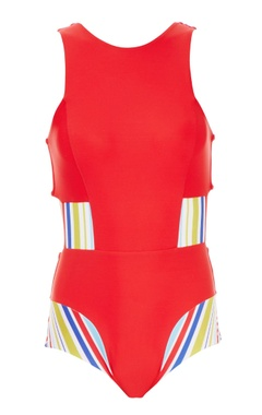 red one-piece with striped panels