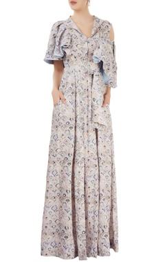 Beige printed maxi dress
