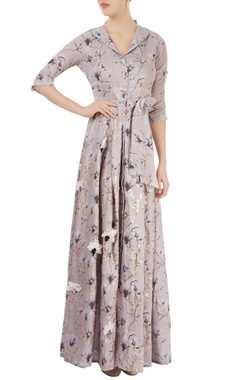Dusky pink printed shirt maxi dress