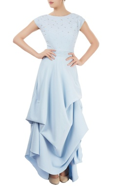 Powder blue draped maxi dress
