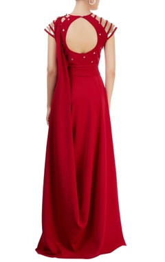 Marsala draped gown