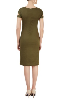 Military green applique dress