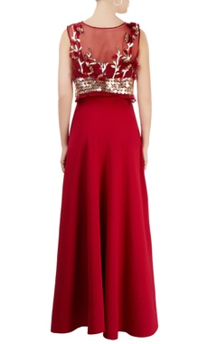 Marsala gown with cape