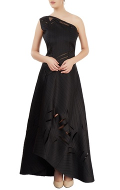 Black gown with cutwork