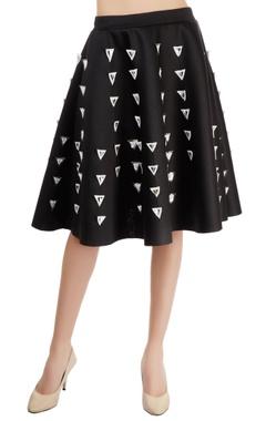 Black applique skater skirt