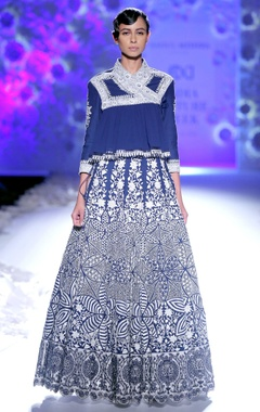 Indigo embroidered kedia top & lehenga skirt