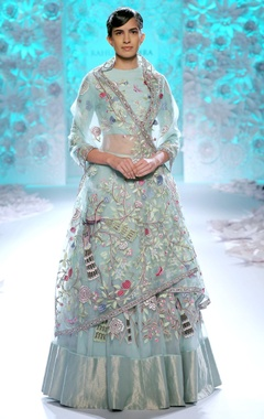 Pastel blue embroidered lehenga set
