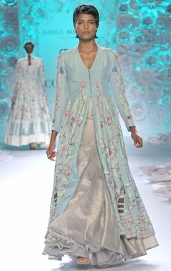 Pastel blue long kurta with ivory gold lehenga