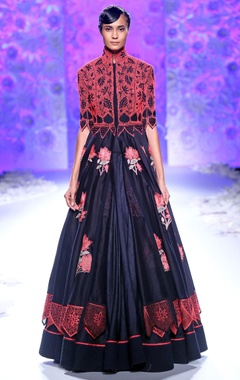 Navy blue embroidered front slit kurta & lehenga