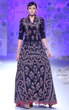Navy blue hand embroidered jacket & lehenga
