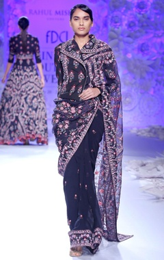 Navy blue embroidered sari with jacket