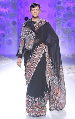 Black hand embroidered sari with jacket