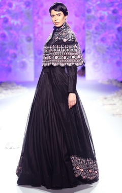 Black hand embroidered kurta lehenga