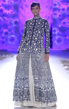 Indigo embroidered kurta with ivory dress