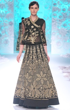 Black lehenga set with gold embroidery