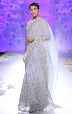 Frozen blue sari with embroidery