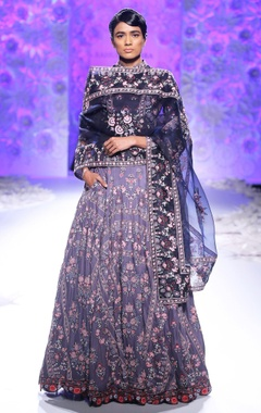 Navy blue & logwood purple embroidered lehenga set