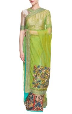 ecru & green embroidered sari
