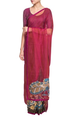 Pink & dark brown sari with madhubani painting