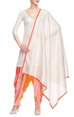 White & pink embellished kurta set